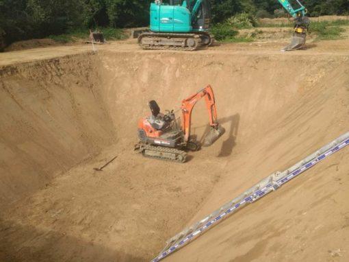 Terrassement pour multichapelle – Laser pour équerrage